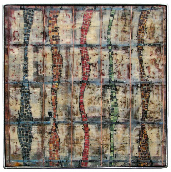 Michael Horswill, Currents 2016, encaustic, paper, copper, steel
