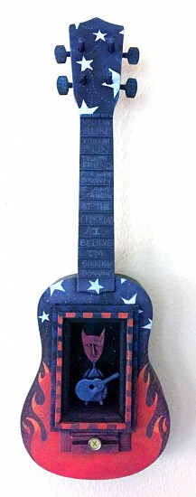 Chris Bivins, Crossroads 2017, foun objects, vintage guitar, polymer clay