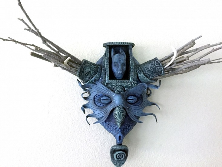 Chris Bivins, Blue Rabbit 2017, Ceramic and mixed media