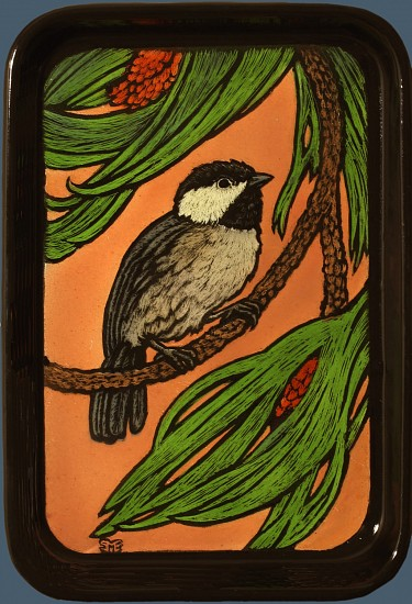 Sheila Evans, Chickadee-Dee-Dee 2016, enamel on steel tray