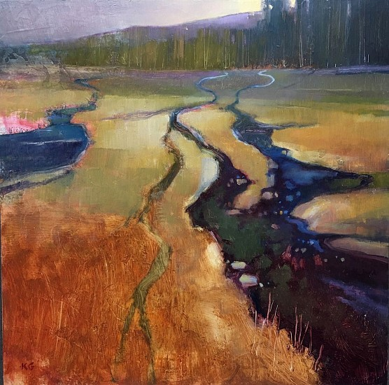 Kathy Gale, A River Runs Through It (Yellowstone, MT) 2017, oil on cradled panel