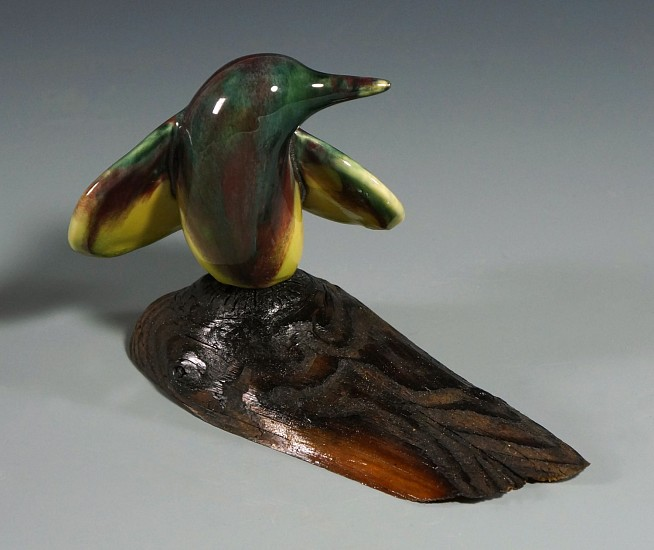 Cathy Weber, Bird, Red/Green (right) porcelain