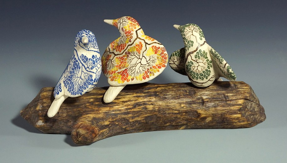 Cathy Weber, Carved Fall Bird (right) porcelain