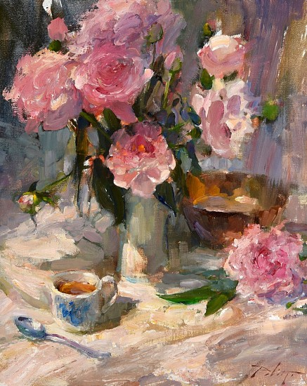 Kyle Paliotto, Peonies and Tea 2018, oil on linen