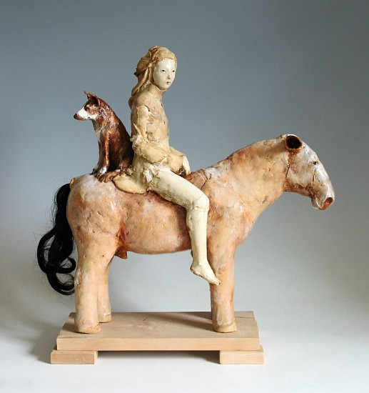 Cary Weigand, Figure on Horse With Dog 2018, porcelain, acrylic paint, horse hair, wood