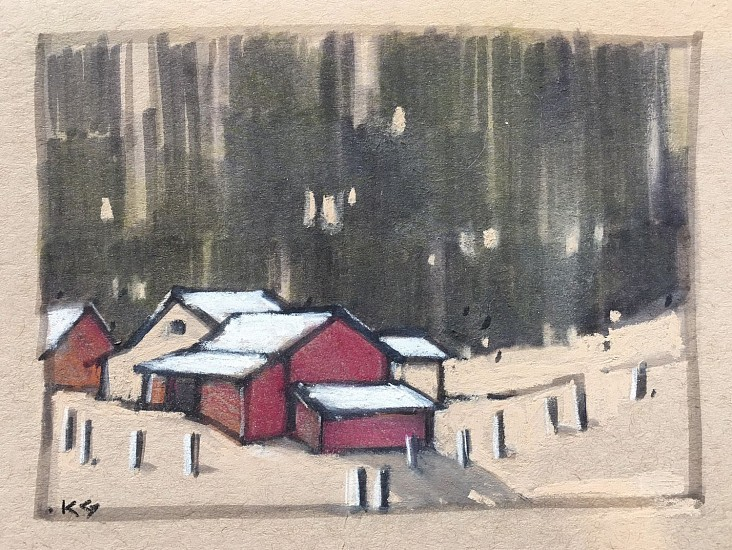 Kathy Gale, Sagle Farmyard 2017, tombow pens with pastel on paper