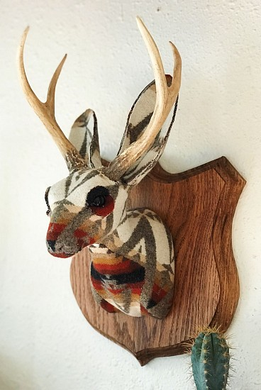 Chase Halland, Pacific Jackalope 2018, taxidermy form with Pendleton fabric