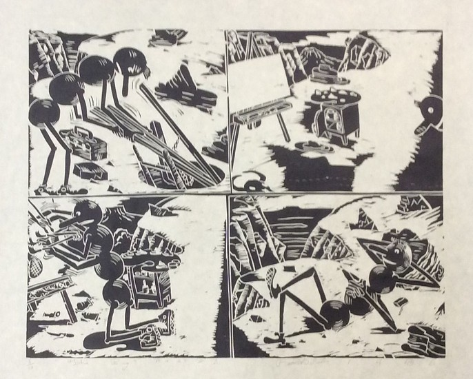 Patrick Siler, The Bug Paints a Picture woodcut