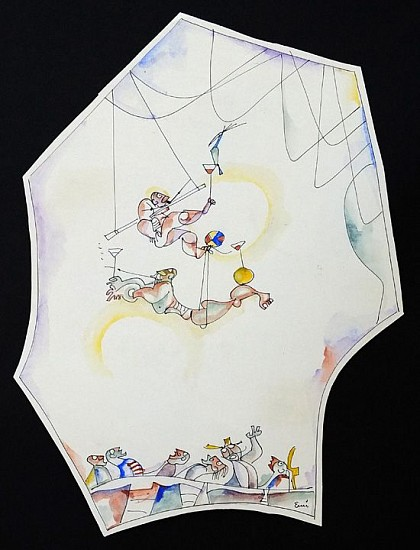 Ernest Lothar, Acrobats Cartoon ink and watercolor
