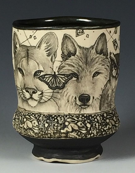 Dennis Meiners, Predators Waisted Yunomi 2019, stoneware with mishima drawings