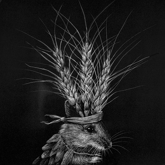Kaetlyn Able, Mouse 21 (Wheat) 2019, scratchboard