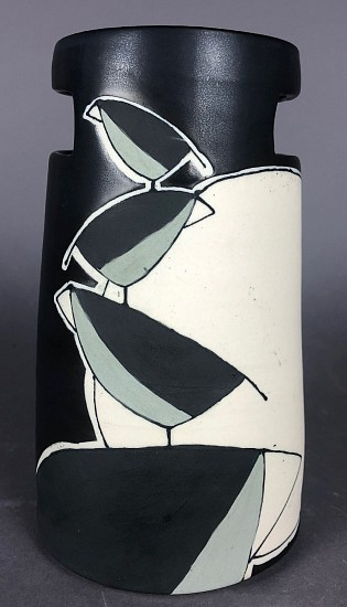 Maya Rumsey, Black Bird Stack Vase 2019, porcelain and underglaze