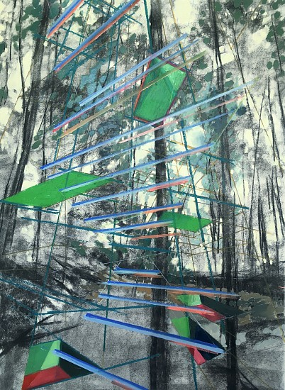 Laura Truit, Canopy Cathedral 2019, oil and charcoal on paper