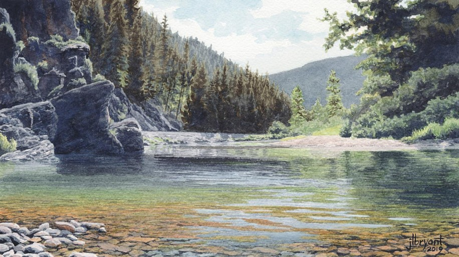 Jessica L. Bryant, North Fork Coeur d'Alene River III 2019, water color