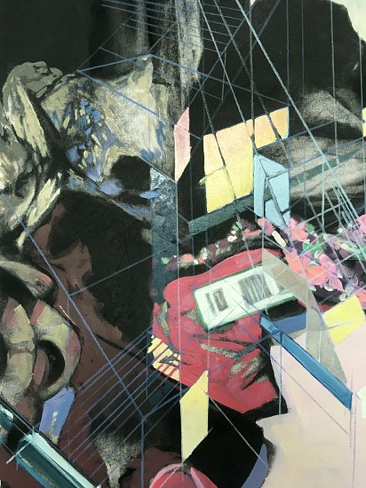 Laura Truit, Clutter Construction 2020, oil and charcoal on paper