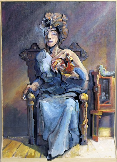 Robert Grimes, Lady in Blue 2014, oil on canvas, wood