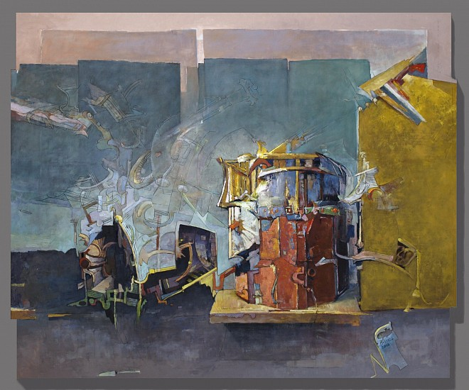 Robert Grimes, Port of Trackless Region 2013, oil on engraved wood panel