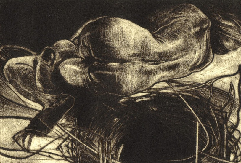 Mary Farrell, Fetal Dream 2005, unframed mezzotint