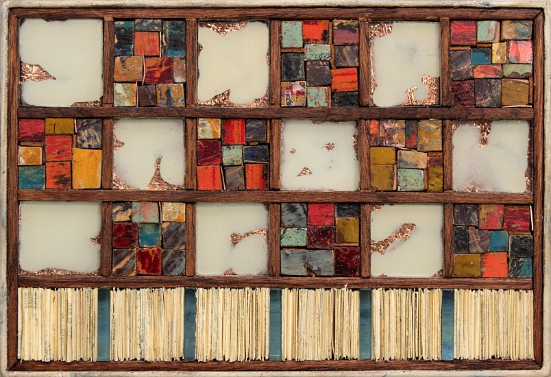 Michael Horswill, Quilts and Clouds 2020, steel, wood, wax, paper, glass, copper, leather