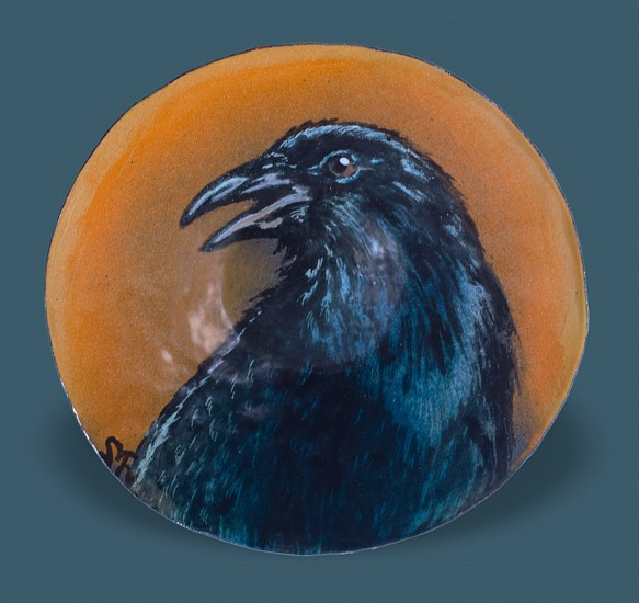 Sheila Evans, Crow Treasure Dish 2020, kiln-fired enamel on hand-hammered copper bowl