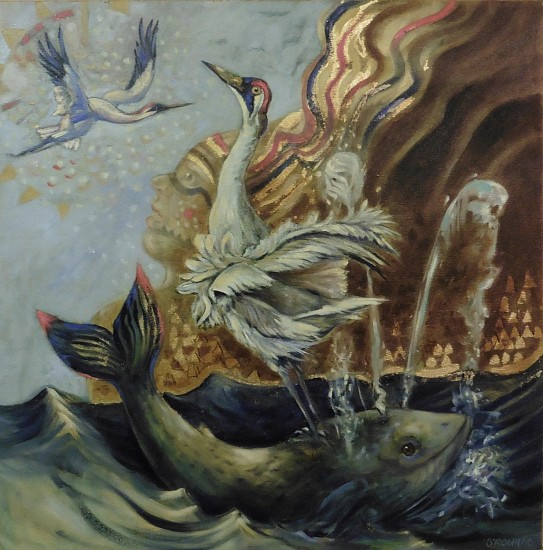 Kay O'Rourke, Whopping Crane and Grey Whale 2020, oil on canvas