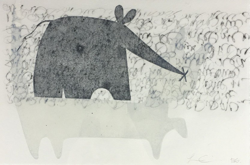 Larry Calkins and Becky Street, Cat and Mouse 2018, monoprint with drypoint