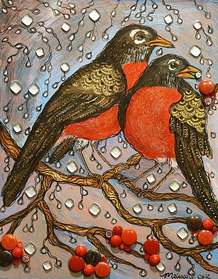 Melissa Cole, Singing in the Rain 2021, textured acrylic on wood panel with fused glass accents